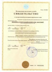Свидетельство о регистрации ЖСК Льготный